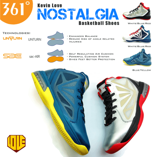 "2ffcebaf79b6 ... Love ""Nostalgia"" basketball shoes features the latest Self-regulating  Air Cushion (  361 Degrees Kevin Love Shoes 2  361° Kevin Love 1.5 -  WhiteBlackRed ..."