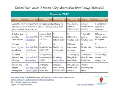 November Declutter Calendar 15 Minute Daily Missions For Month