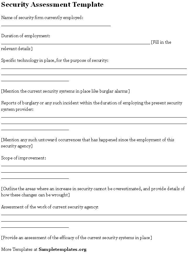 Security Assessment Template #security #assessment #template #sample