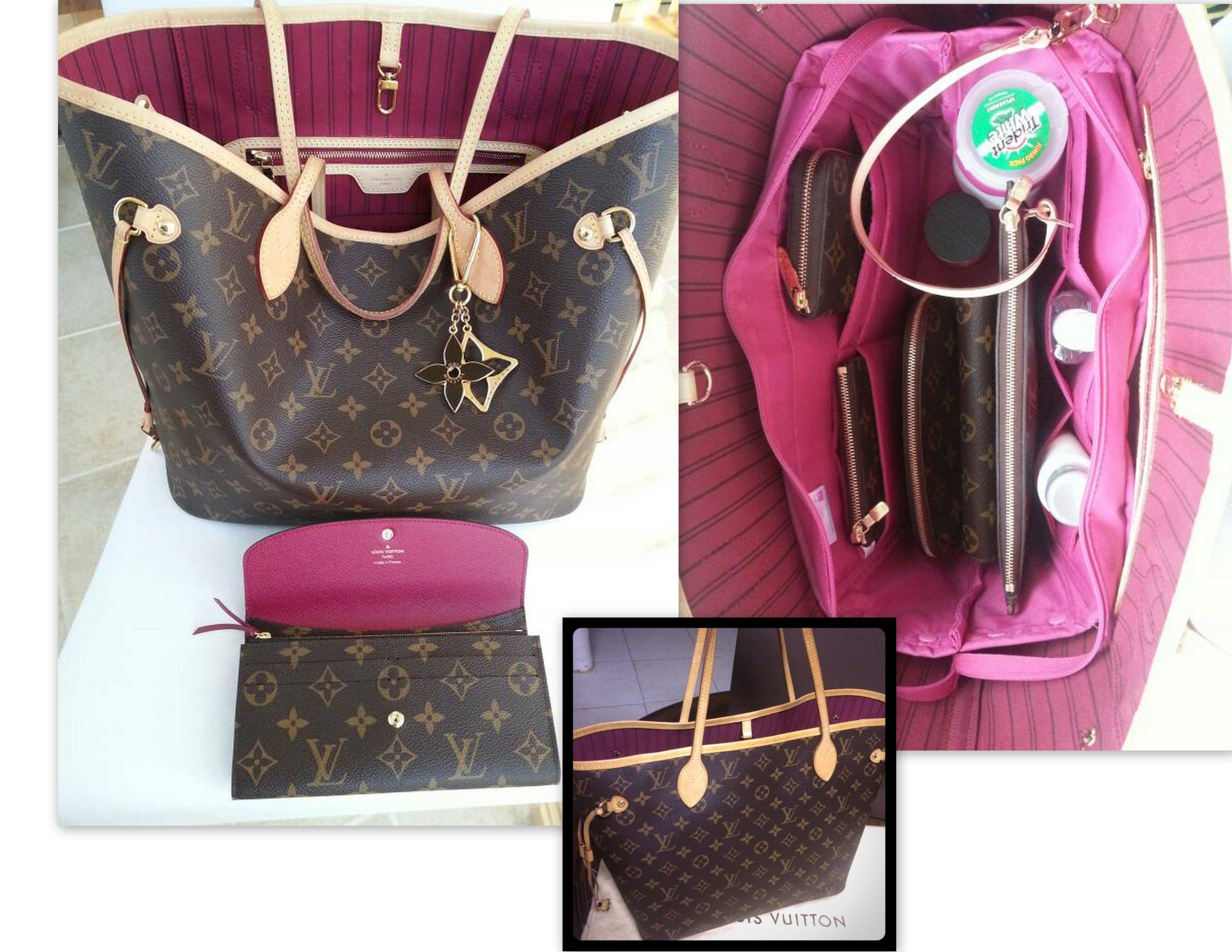 993436d2be86 Louis Vuitton Neverfull MM Fuchsia Interior Shoulder Monogram Bag 2014