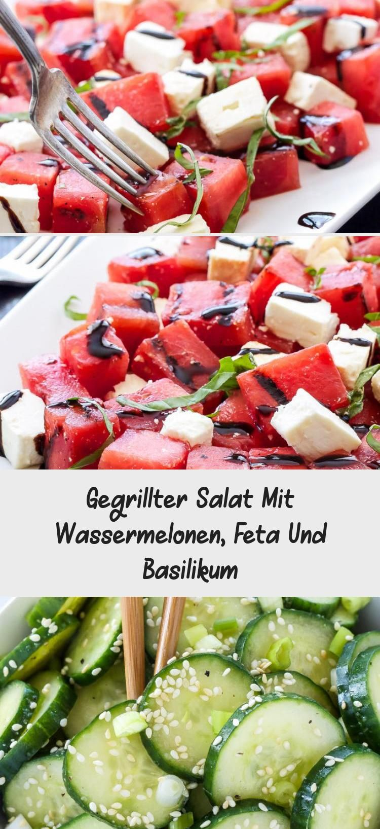 Photo of Grilled salad with watermelons, feta and basil