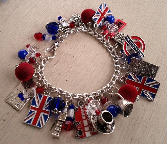 UK Union Jack British Flag European Charm Bead For Large Hole Charm Bracelets