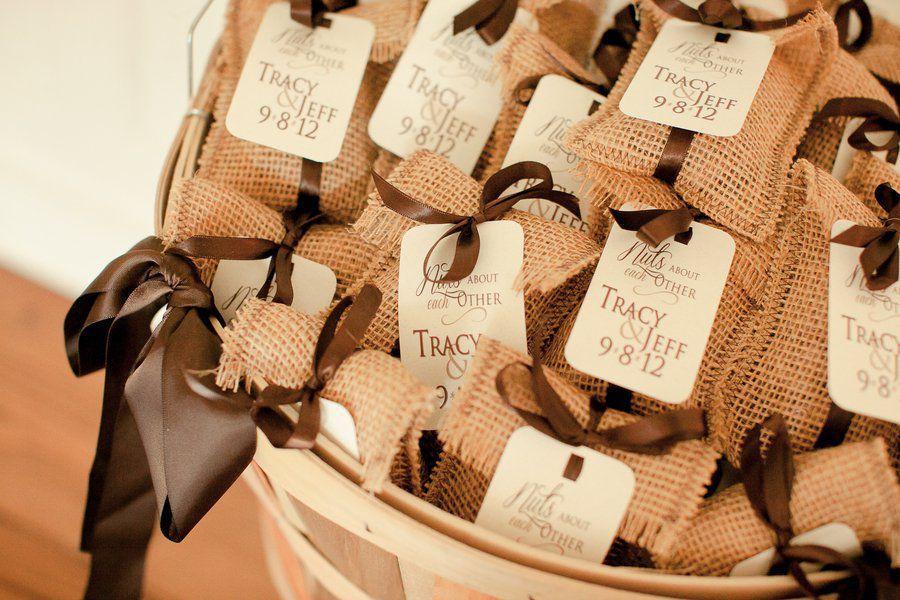 Burlap themed wedding rustic wedding favors coffee