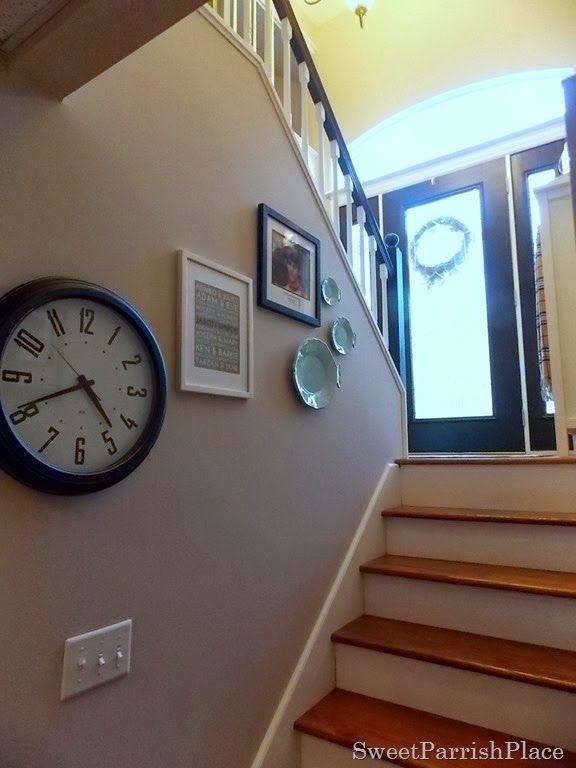 A shelf with hooks along that huge wall split foyer / bi level ...