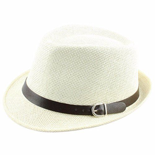d6440254495d66 Samtree Womens Mens Cap Vintage Knitted Straw Jazz Hat Fedora Trilby(White)  - http