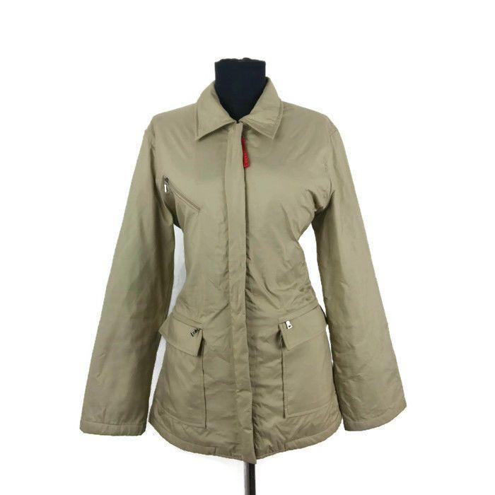 Women s Prada Jacket size 38 IT UK 8 US 6 Beige Nylon Coat Medium ... 1ea4c5e80f6