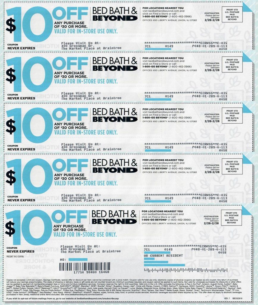 Bed Bath And Beyond 10 Off Any Purchase Of 30 Sets Of 5 7 Or