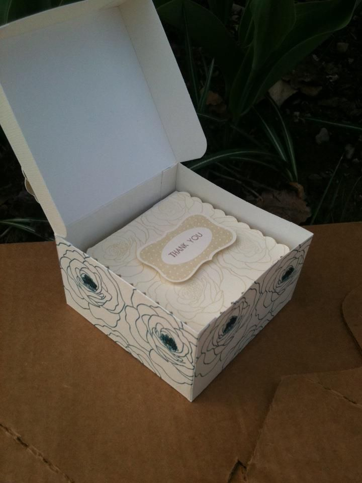 Inside of Card box. Random stamped with CTMH Card Word Puzzle, glitz gel in flower centers. Cards CASEd from Lisa Stenz