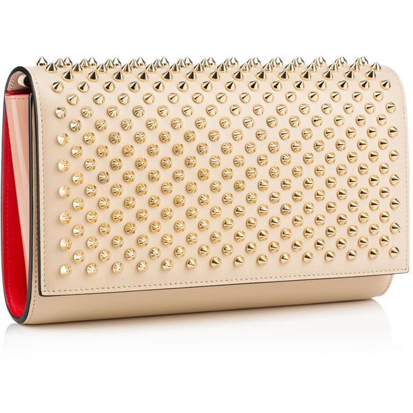 Christian Louboutin Paloma Clutch ($1,150) ❤ liked on Polyvore featuring bags, handbags, clutches, beige purse, christian louboutin, chain strap purse, metallic handbags and genuine leather purse