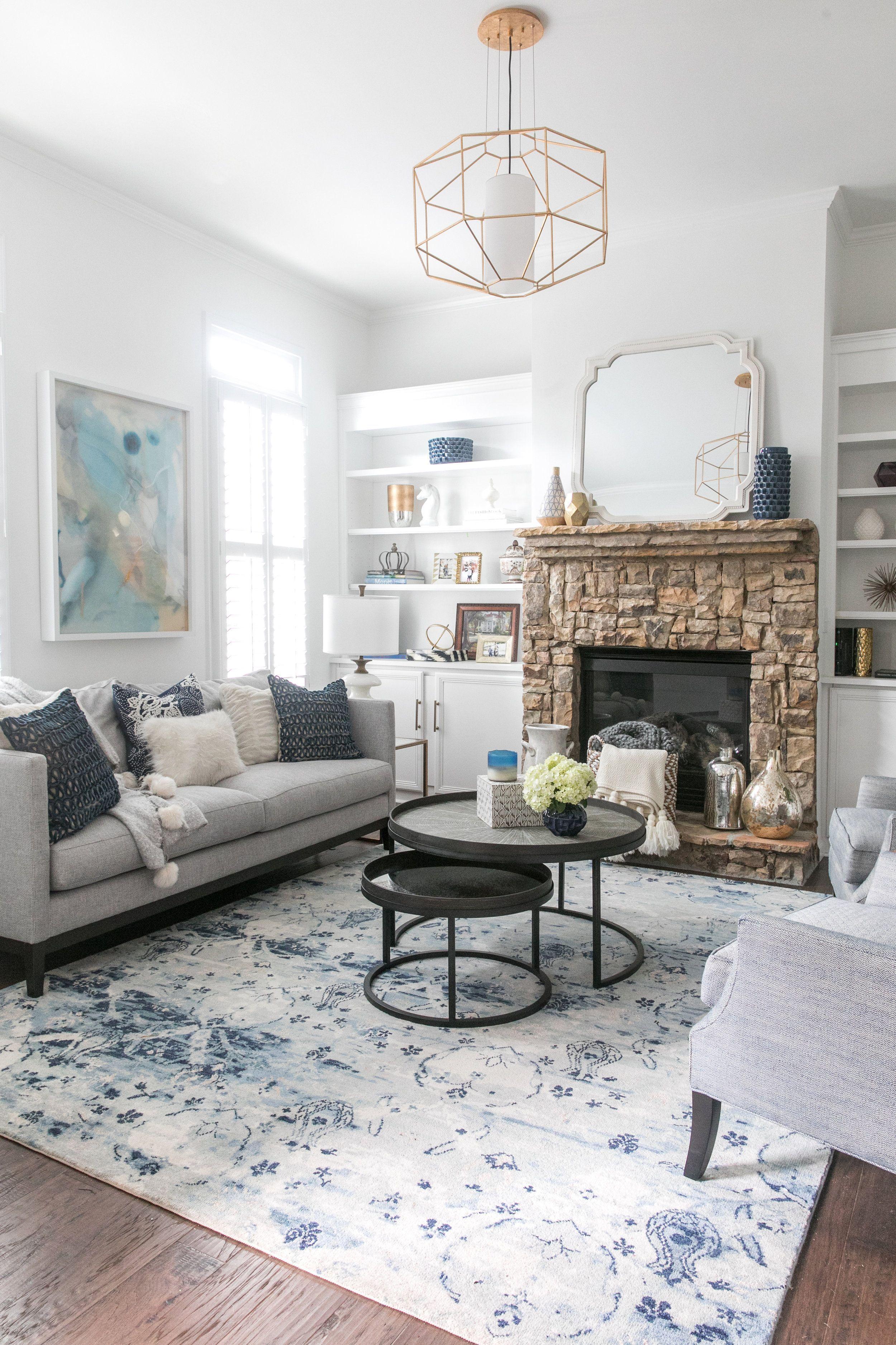 Cozy Living Room Navy White Cream Tan Gray And Gold Li