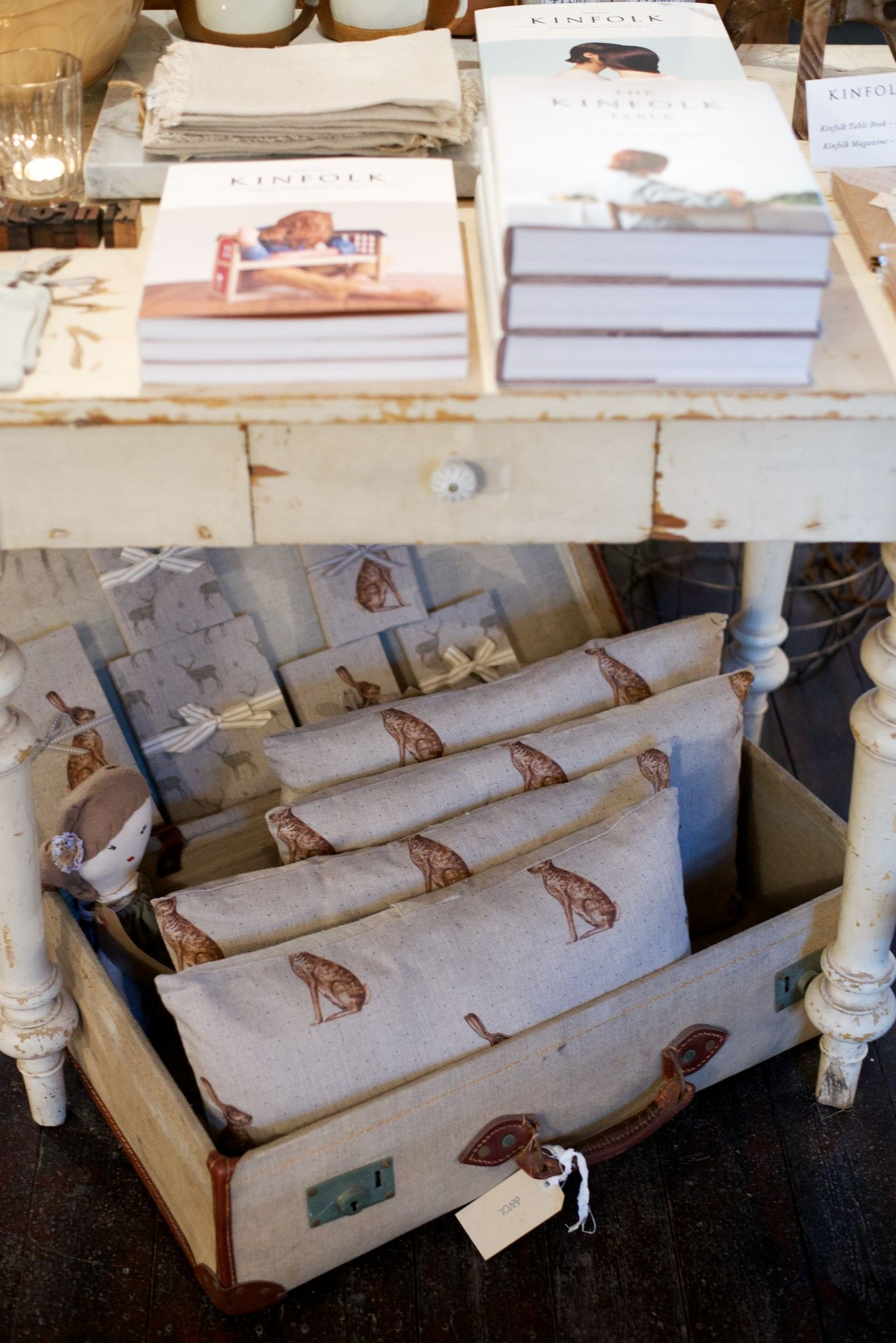 Peony and Sage Linen Cushions with matching notebooks, available to buy at Cotes Mill now.