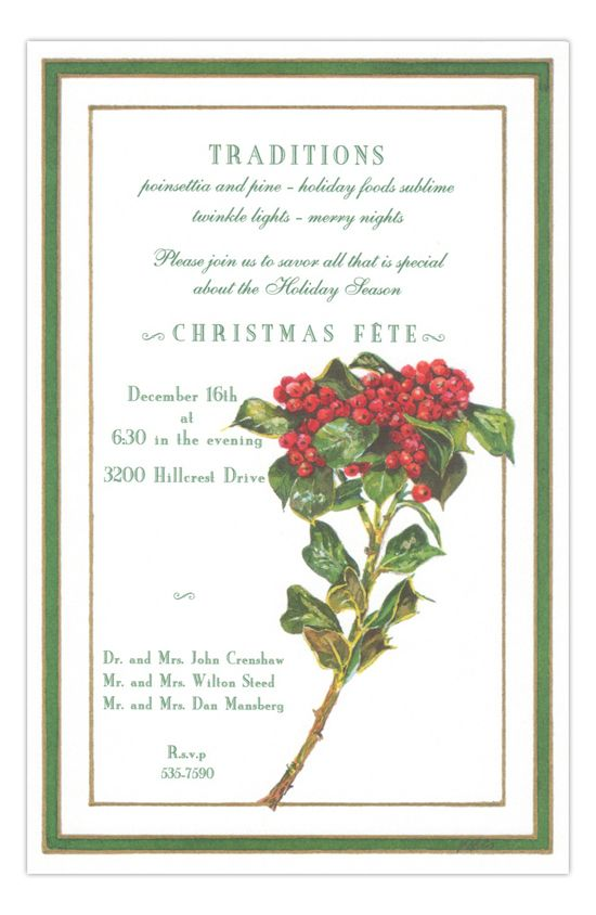 Yaupon Holly Holiday Party Invitation Holiday party invitations - holiday party invitation