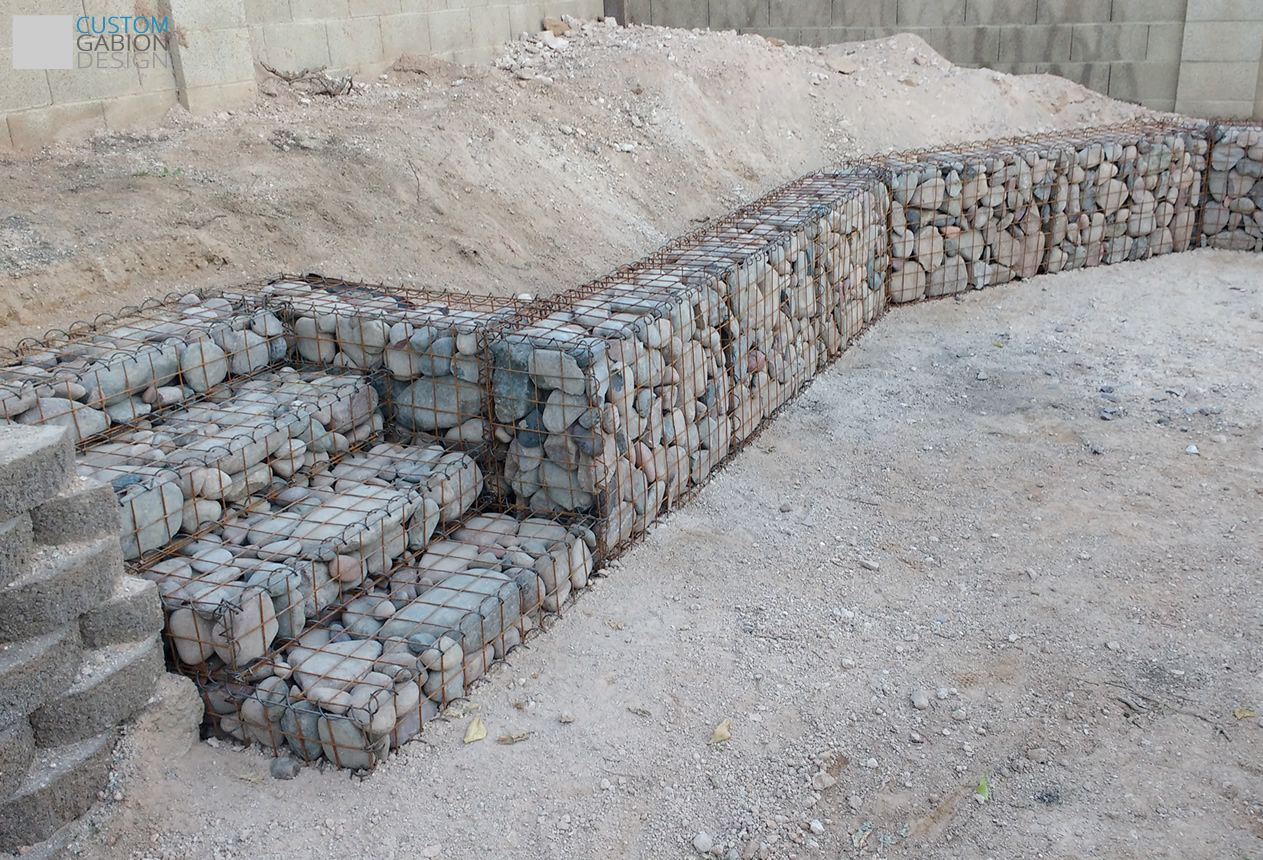 Gabion Backyard Garden Retaining Wall With Stairs