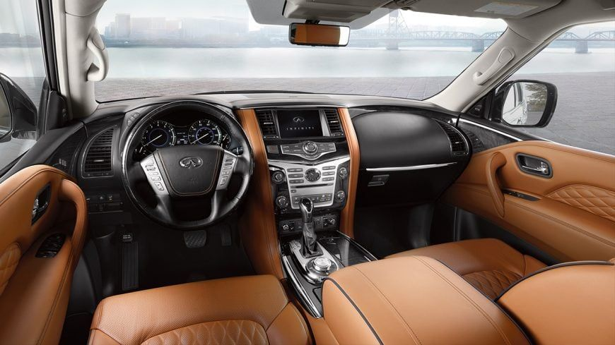 2019 Infiniti Qx80 Luxe Interior Front Seating With Spacious Leg Room Highlighting Infiniti Technology Infiniti Usa Infiniti Suv