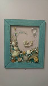 Custom made glass art frame with with 8x10 vertical tourquise wood frame