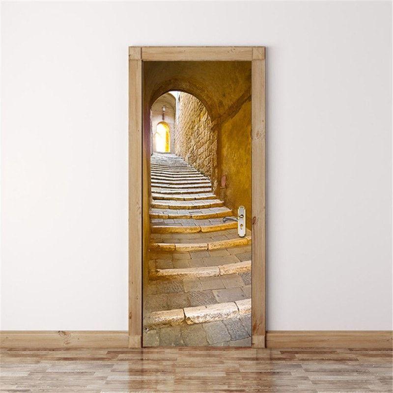 Ancient Stone Staircase & Arch Decal | Door murals, Door ...