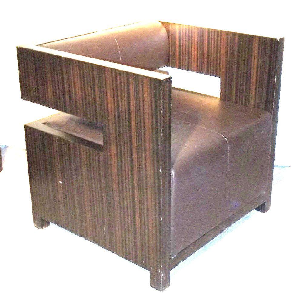 Pair zebra woodleather milo baughman mid century modern cube chairs