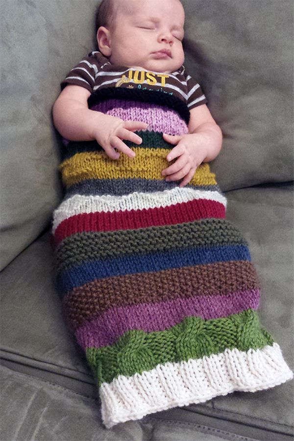 Free Knitting Pattern for Easy Scrappie Suri Baby Sack ...