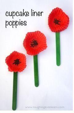 Red Memorial Poppy Craft Using A Cupcake Liner #remembrancedaycraftsforkids
