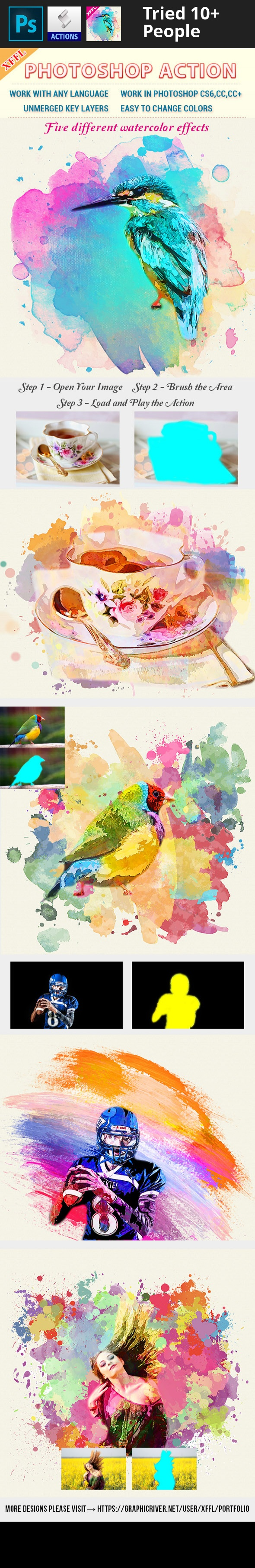 Watercolor Art V1 Photoshop Action Digital Art Tutorial