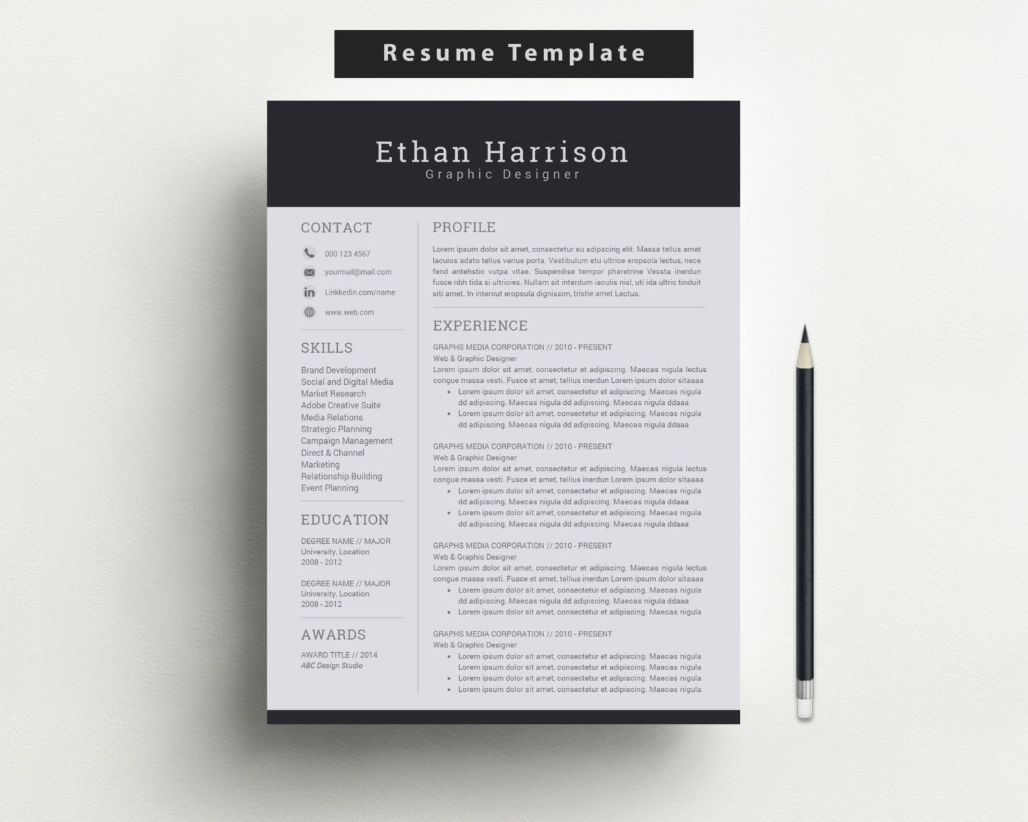 Professional Resume And Cover Letter Template For Word  Modern