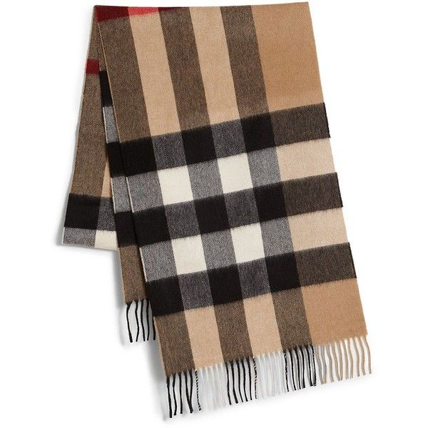 3239466114b Burberry Cashmere Check Scarf ( 560) ❤ liked on Polyvore featuring men s  fashion