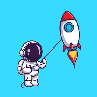 Download Cute Astronaut Playing Rocket Kite Cartoon for free