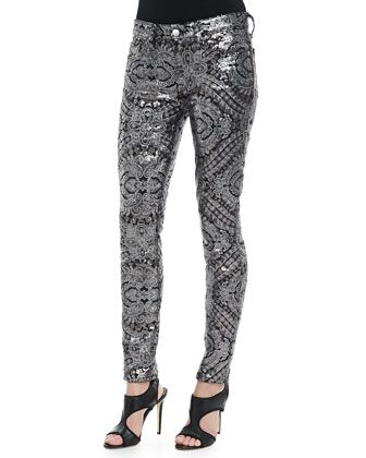 Sequined Printed Skinny Pants by 7 For All Mankind at Bergdorf Goodman.