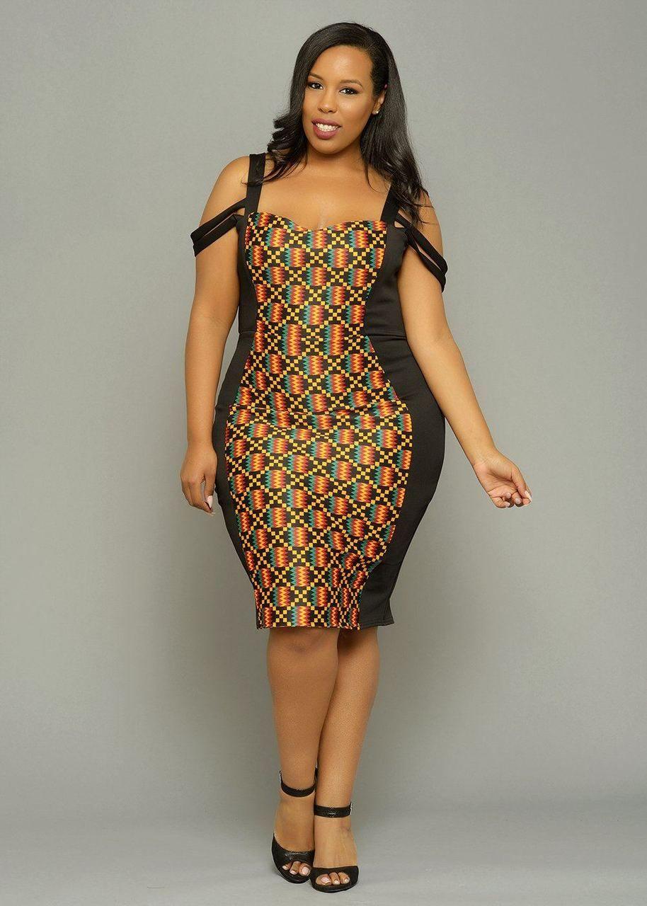 95ae41ea8eb Adisa African Print Formal Dress with Straps (Yellow/Black Kente) in ...