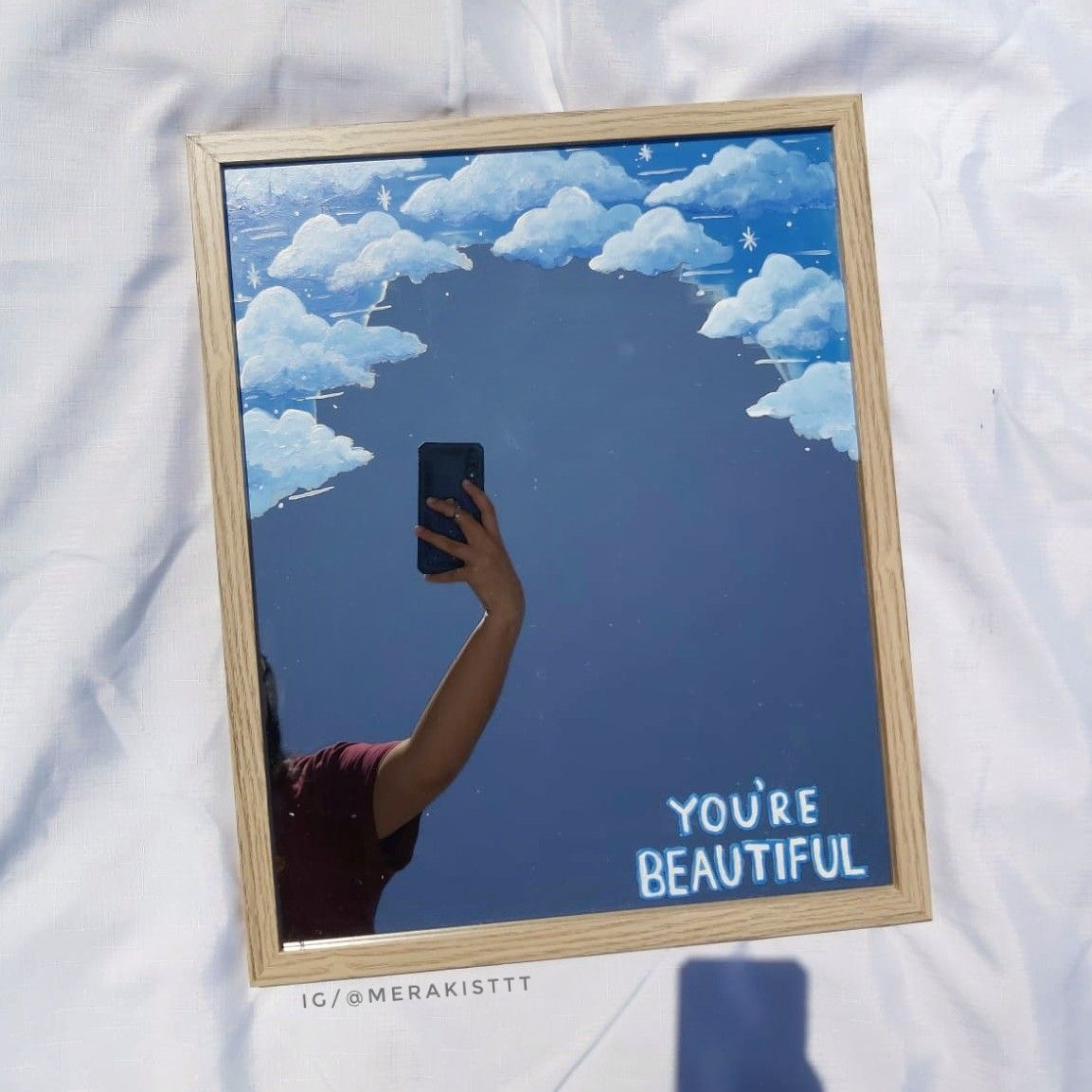 Clouds On Mirror In 2020 Mirror Painting Painted Mirror Art Amazing Art Painting