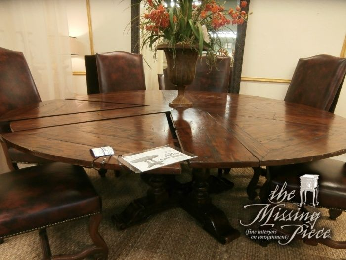 Theodore Alexander antiqued wood circular extending dining table ...