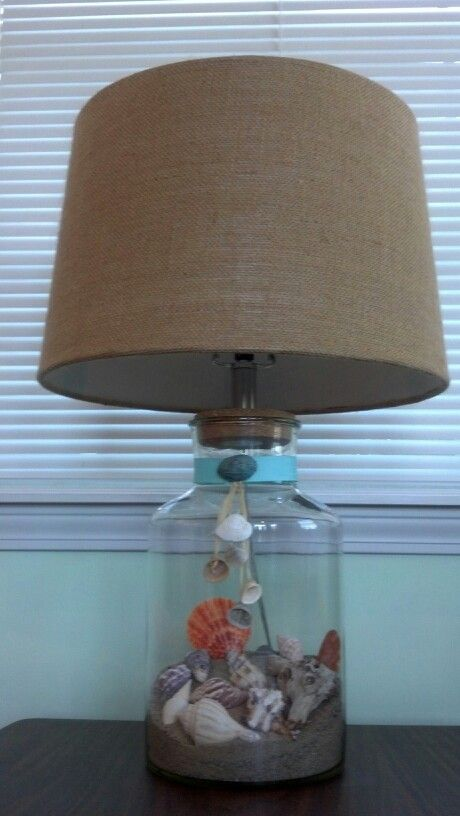 Empty Glass Lamp From Hobby Lobby Decorated With Sand Shells And