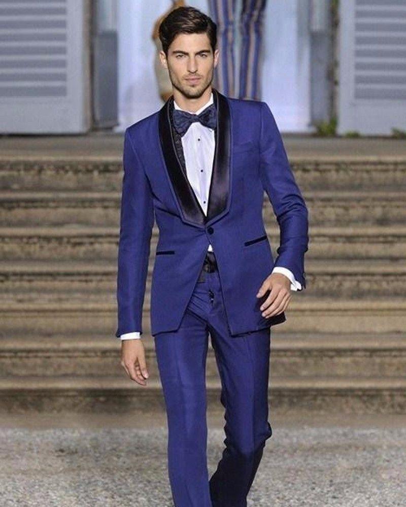 New Style Groomsmen Shawl Black Lapel Groom Tuxedos Royal Blue Mens ...