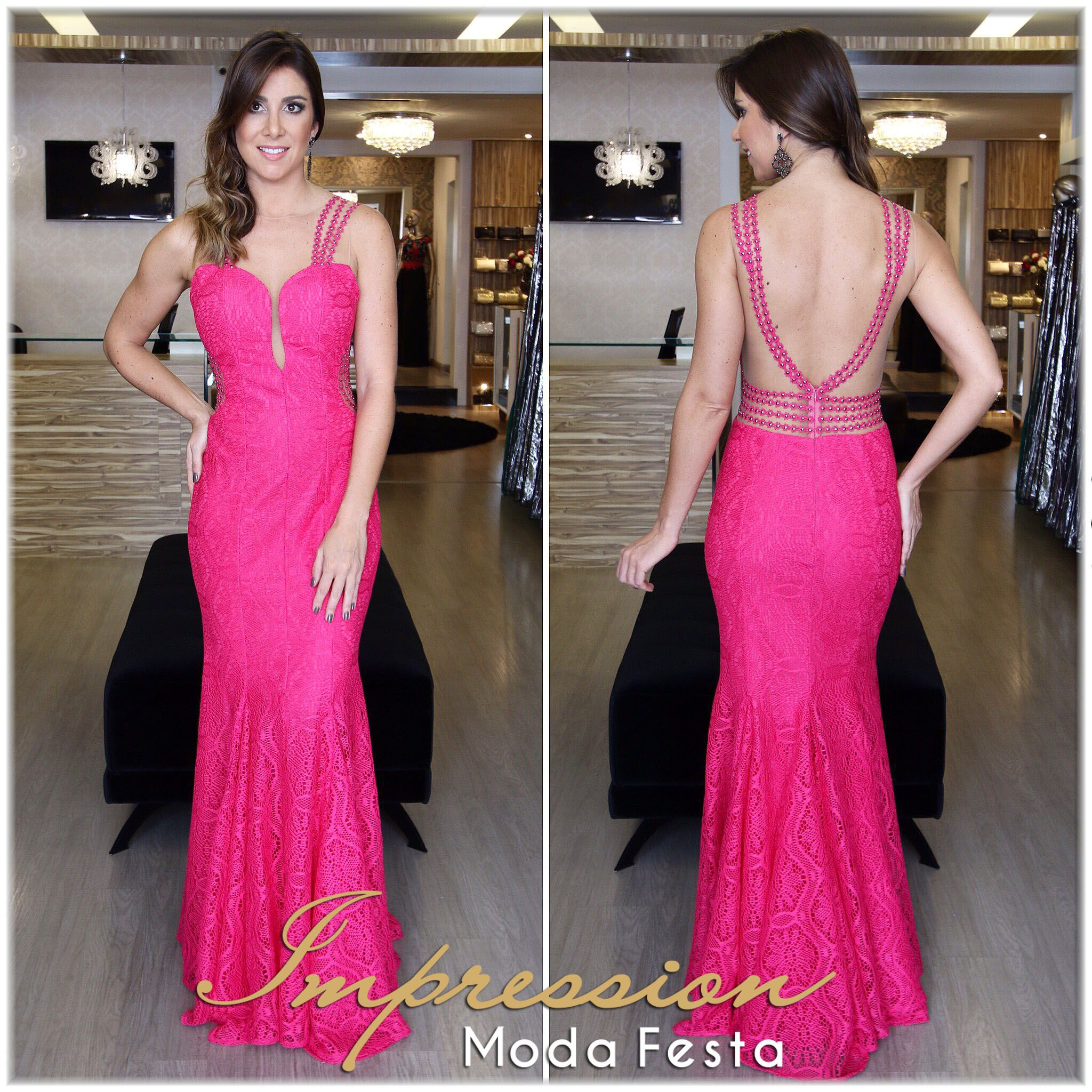 VESTIDO LONGO PINK SEREIA COM RECORTES E BORDADO DE FESTA | vestidos ...