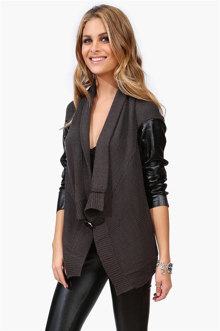 Leather Look Draped Knit Cardigan