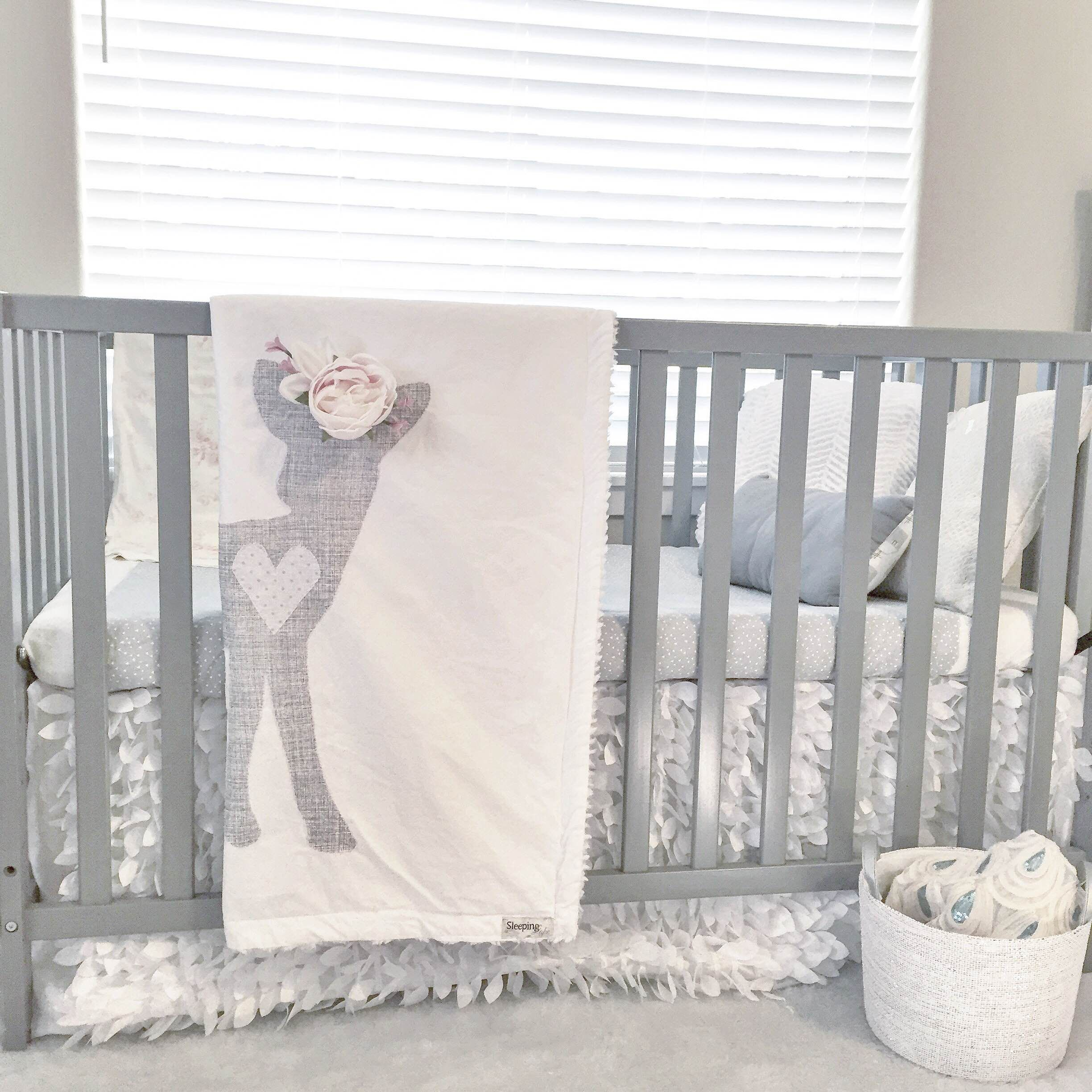 Baby Girl Woodland Boho Fawn with Flower Crown Blanket in Gray and ...