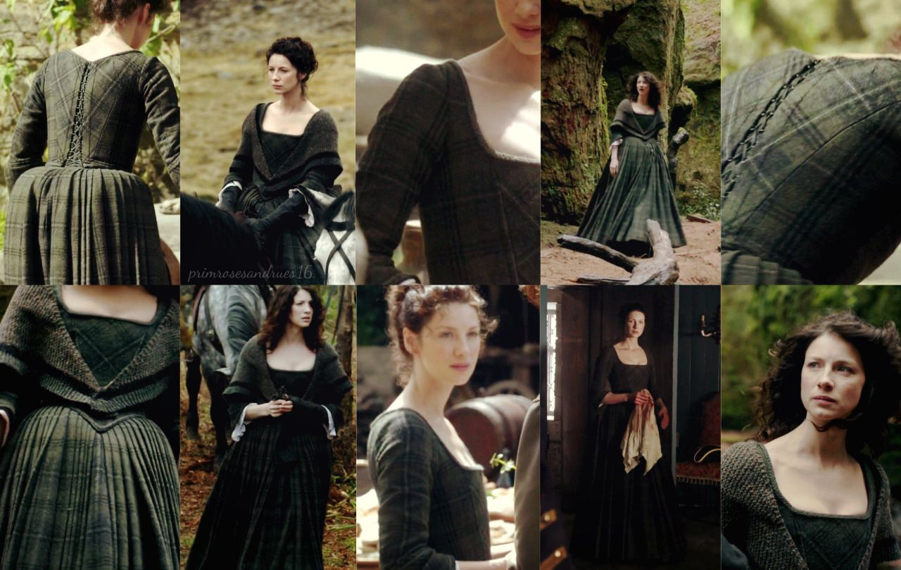 Claire Fraser The Green Dress In Detail I Love This One So Much Green Plaid Dress Claire Fraser Costume Outlander Costumes [ 809 x 1280 Pixel ]