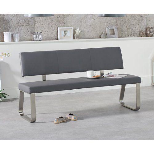 Essgruppe Crovetti mit 6 Stühlen und 1 Bank 17 Stories Farbe (Tisch): Dunkelgrau, Farbe (Stühle): Schwarz, Farbe (Bank): Grau