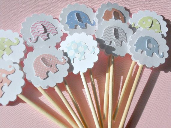Elephant Cupcake Toppers - Baby Shower Cupcake Toppers - Polka Dot Baby Elephant Cupcake Toppers - Baby Shower Decor - Party Decor -   petp