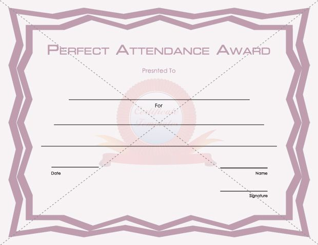 Perfect Attendance  School Certificate Templates
