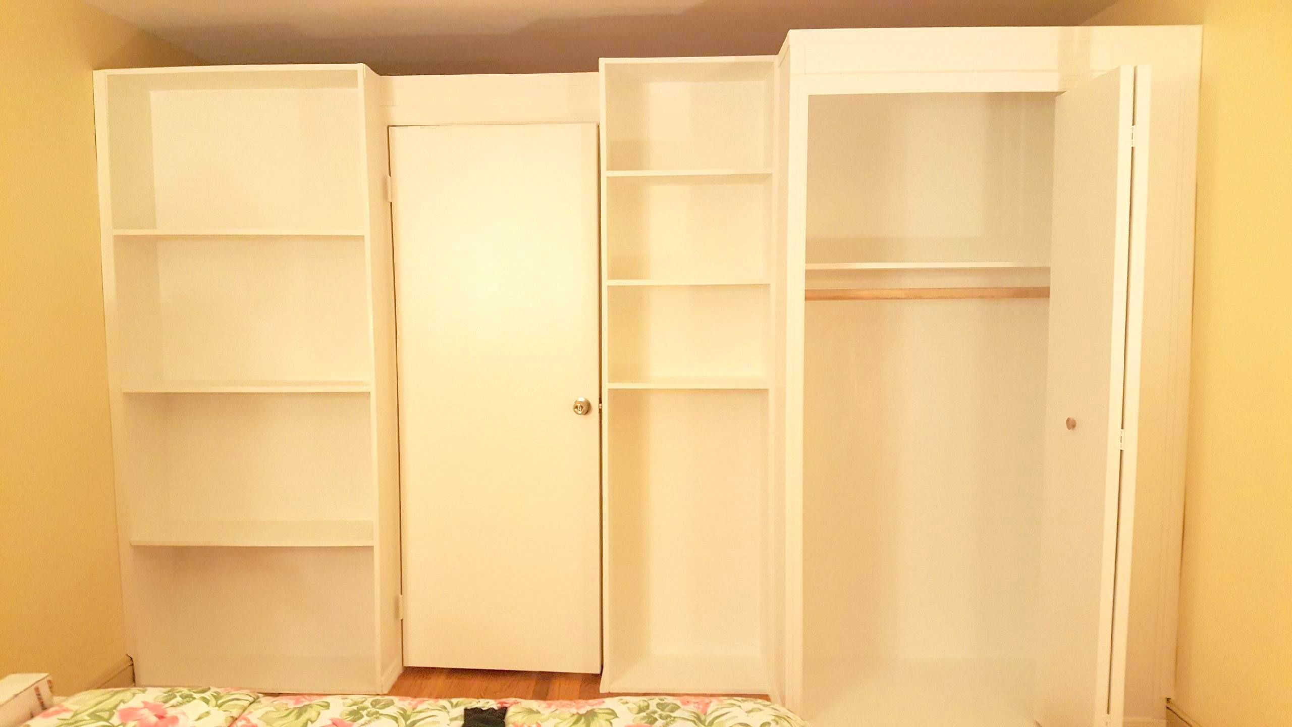 Custom bookcase wall with closet. Call us for all your custom room ...