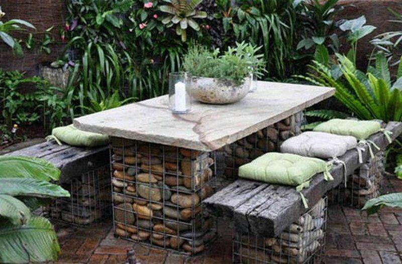 Mesa y sillones de piedras y tablones | Gardening | Pinterest ...