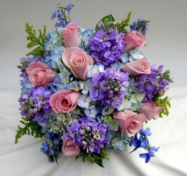 Hand Tied Bridal Bouquet Of Blue Hydrangeas Pink Roses Delphinium Lavender Stock