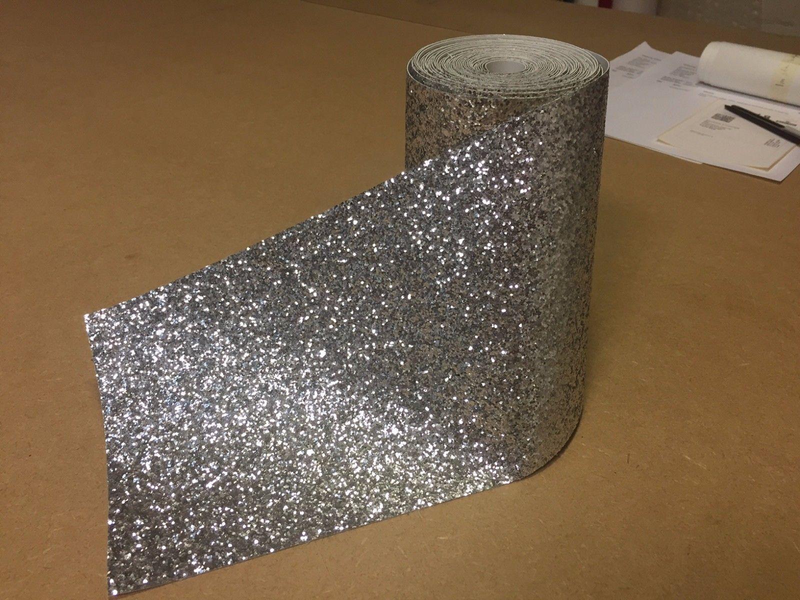 Silver Boarder Chunky Glitter Wallpaper Covering Grade 3 Bling 8 Metres Long Ebay Glitter Wallpaper Silver Wallpaper Border Wallpaper Border
