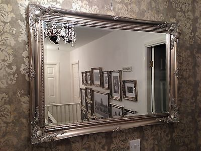 X LARGE Antique Silver Shabby Chic Ornate Decorative Wall Mirror ...