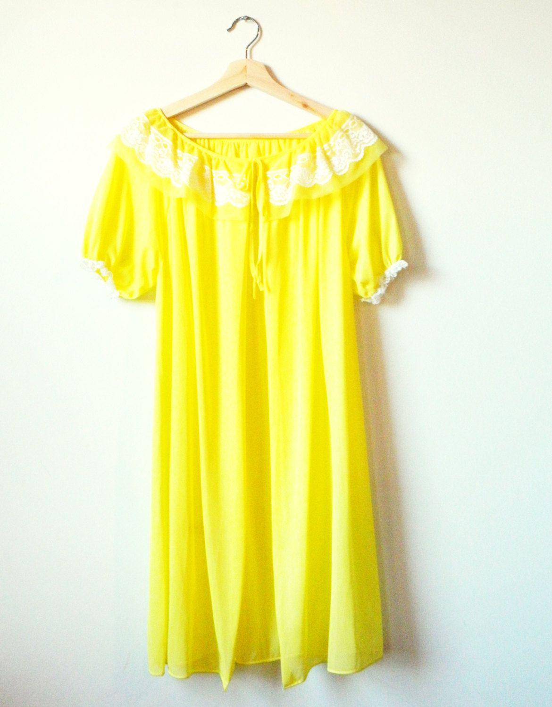 Lemonade Yellow Vintage Dressing Gown / Sheer Vintage Robe / Bright ...