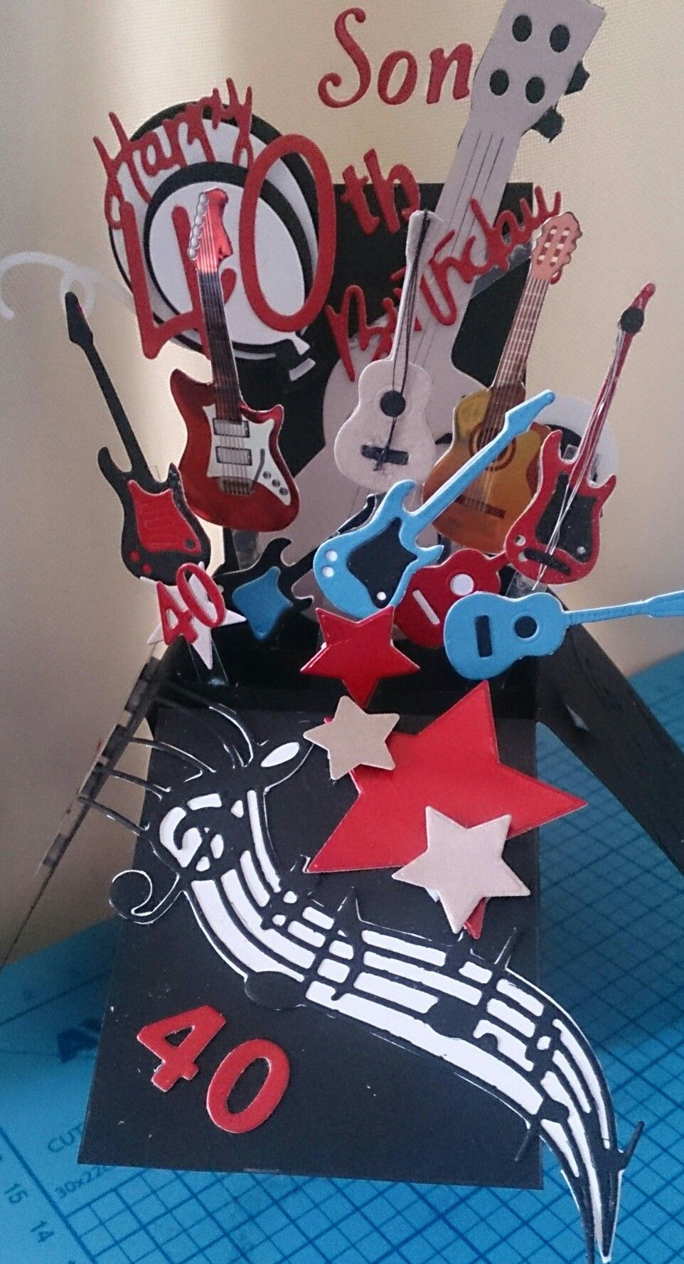 40th Son Birthday Box Card Music Guitar Star Balloons