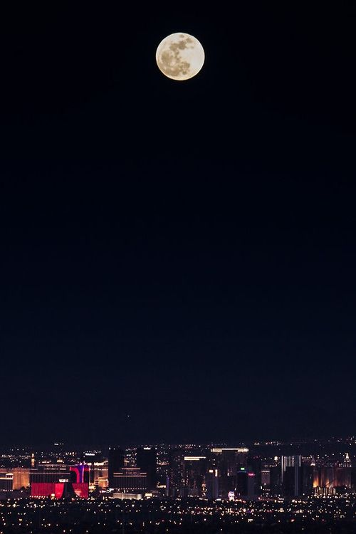 City Lights Under The Moon Beautiful Moon Iphone Wallpaper Moon Night Skies