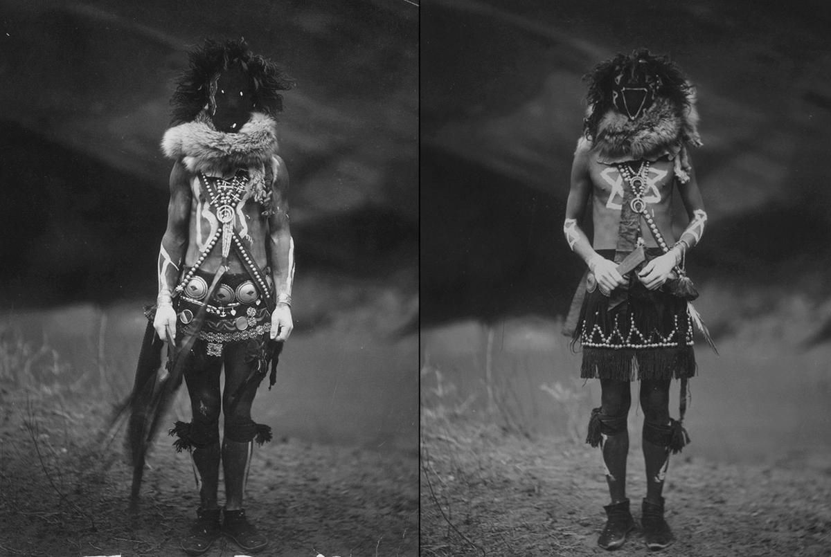 Left: A Navajo man in ceremonial dress as Nayenezgani, a Navajo deity. Right: Tobadzischini, Yebichai war god, ca. 1904.