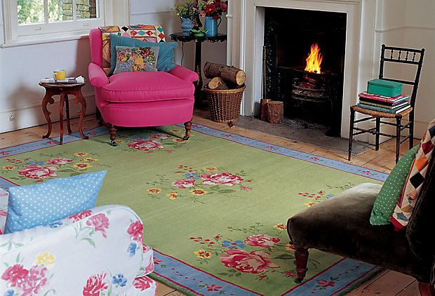 Cath Kidston Rug In Cosy Living Room